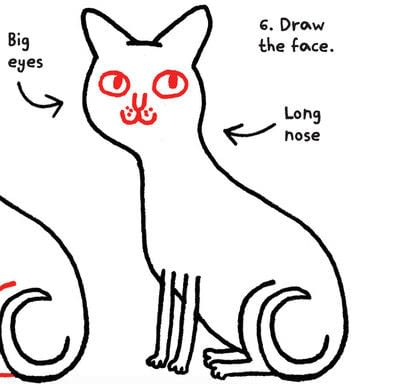 How to draw an animal drawing. Draw A Super Sphynx - Step 6