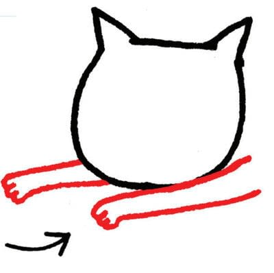 How to draw an animal drawing. Draw A Str-e-e-e-tching Kitty - Step 2