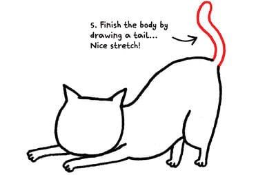 How to draw an animal drawing. Draw A Str-e-e-e-tching Kitty - Step 6