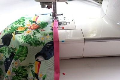 How to make a tablecloth / table runner. Pink & Green Tropical Tablecloth - Step 8
