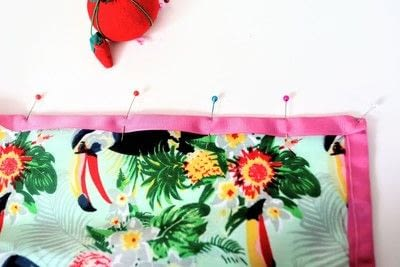 How to make a tablecloth / table runner. Pink & Green Tropical Tablecloth - Step 13