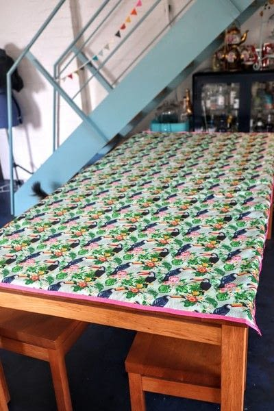 How to make a tablecloth / table runner. Pink & Green Tropical Tablecloth - Step 15
