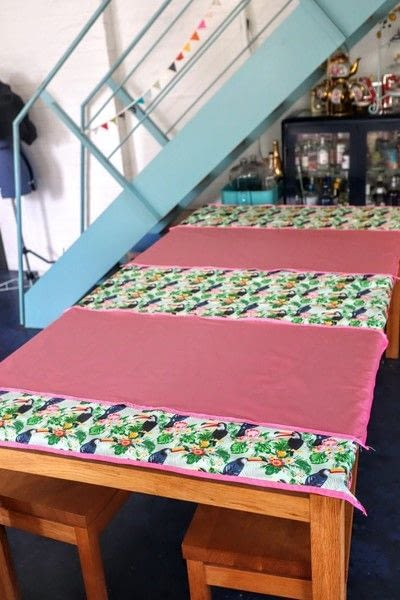 How to make a tablecloth / table runner. Pink & Green Tropical Tablecloth - Step 17