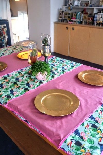 How to make a tablecloth / table runner. Pink & Green Tropical Tablecloth - Step 19