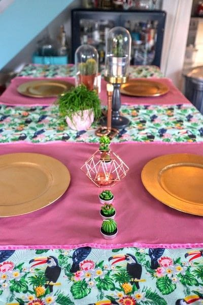 How to make a tablecloth / table runner. Pink & Green Tropical Tablecloth - Step 20