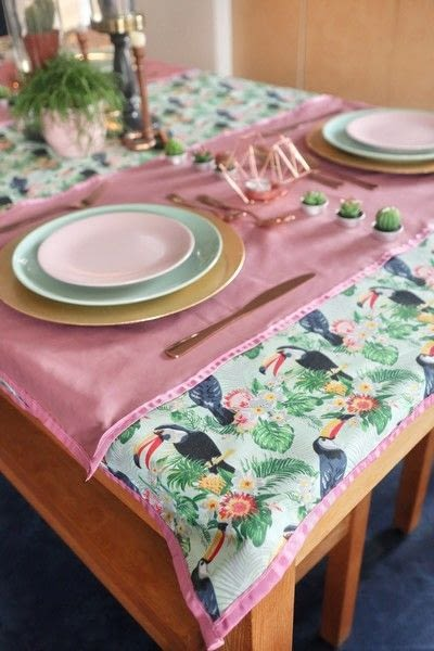 How to make a tablecloth / table runner. Pink & Green Tropical Tablecloth - Step 22