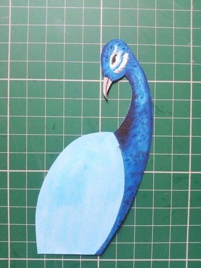 How to make a mixed media. Pistachio Shell Peacock - Step 12