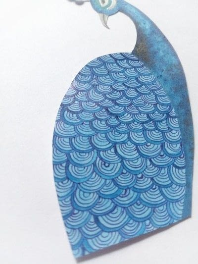 How to make a mixed media. Pistachio Shell Peacock - Step 14