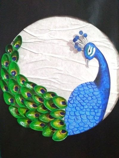 How to make a mixed media. Pistachio Shell Peacock - Step 19
