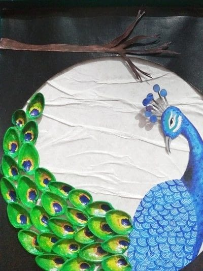 How to make a mixed media. Pistachio Shell Peacock - Step 21
