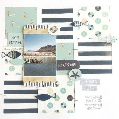 How to make a piece of paper art. Summer Splash Layout - Step 6