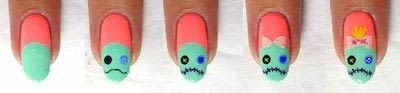 How to paint a character nail. Stitch And Scrump - Step 3