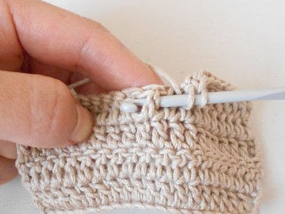 How to double crochet . Front Post Double Crochet - Step 3