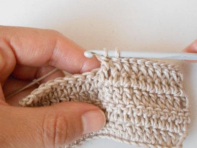 How to double crochet . Front Post Double Crochet - Step 7
