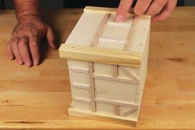 How to make a bird house. Tudor Style Beams Birdhouse - Step 16