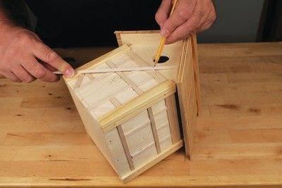 How to make a bird house. Tudor Style Beams Birdhouse - Step 21