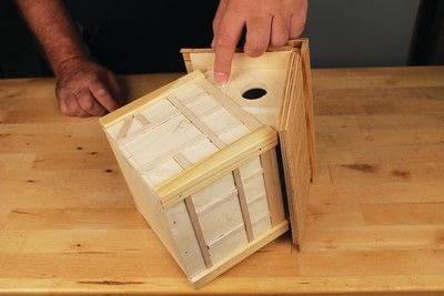 How to make a bird house. Tudor Style Beams Birdhouse - Step 22