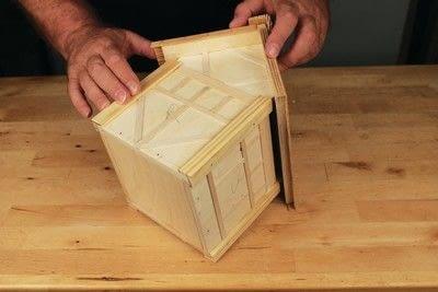 How to make a bird house. Tudor Style Beams Birdhouse - Step 24