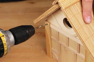 How to make a bird house. Tudor Style Beams Birdhouse - Step 25