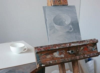 How to create a drawing or painting. Teacup Painting - Step 1