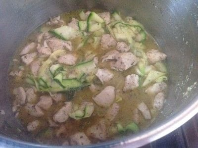 How to cook a chicken dish. Garlic Chicken & Courgette Ribbons  - Step 6