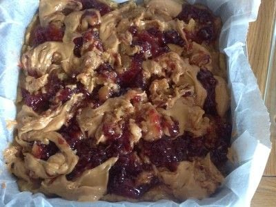 How to bake a bar / slice. Peanut Butter & Jelly Blondies - Step 8