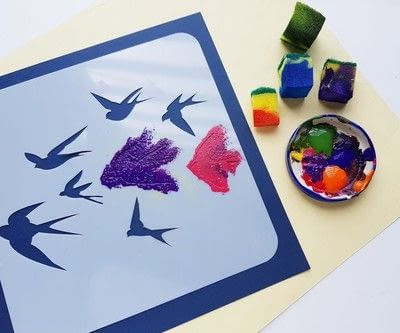 How to paint a stencilled painting. Create Colorful Bird Stencil Art - Step 4