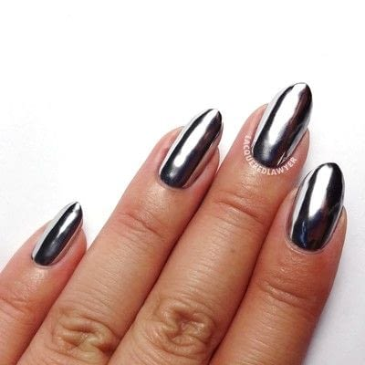 How to paint a nail painting. Silver Skynet - Step 4
