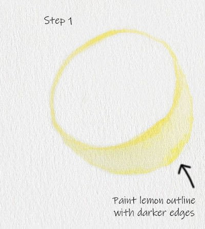 How to paint a piece of watercolor art. Juicy Lemon Watercolor Tutorial - Step 1