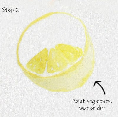 How to paint a piece of watercolor art. Juicy Lemon Watercolor Tutorial - Step 2