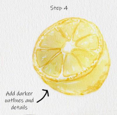 How to paint a piece of watercolor art. Juicy Lemon Watercolor Tutorial - Step 4