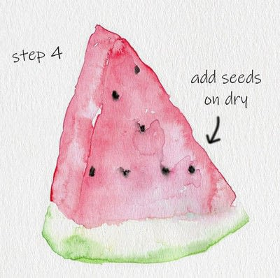 How to paint a piece of watercolor art. Melon Watercolor Tutorial - Step 4