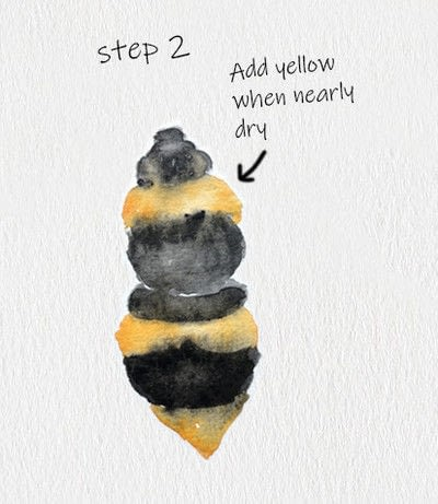 How to paint a piece of watercolor art. Bee Watercolor Tutorial - Step 2