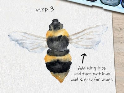 How to paint a piece of watercolor art. Bee Watercolor Tutorial - Step 3