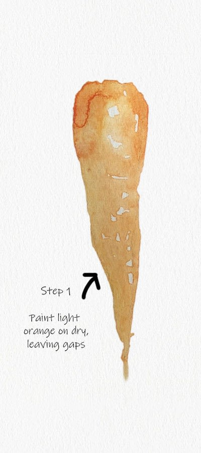 How to paint a piece of watercolor art. Carrot Watercolor Tutorial - Step 1
