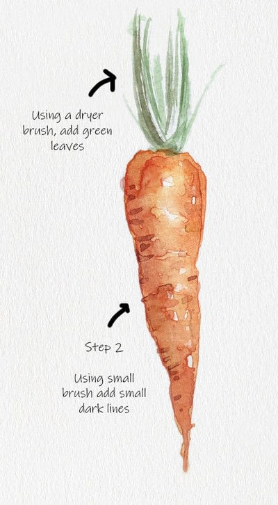 How to paint a piece of watercolor art. Carrot Watercolor Tutorial - Step 3