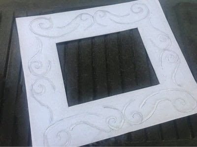 How to make a piece of recycled art. Decorative Framed Mirror - Step 2