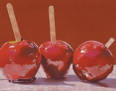 How to create a drawing or painting. Toffee Apples Drawing - Step 3