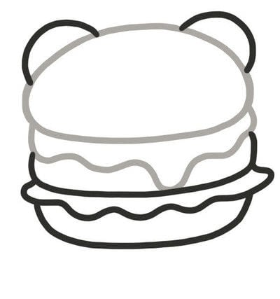 How to create a drawing or painting. How To Draw Really Cute Hamburgers - Step 2