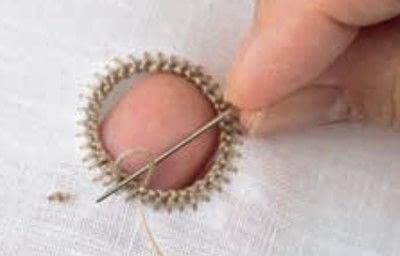 How to stitch . Ladder Stitch - Step 2