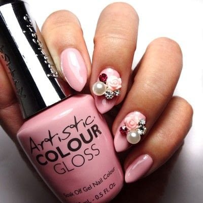 How to paint a nail painting. The Pink In Her Cheeks - Step 2