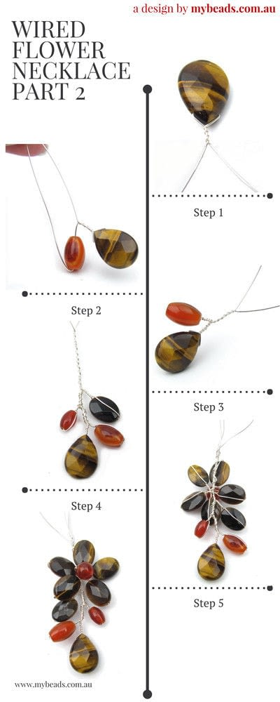 How to make a wire wrapped pendant. Carnelian & Tiger Eye Gemstone Wired Flower Necklace - Step 2