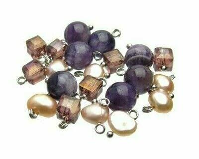 How to make a beaded charm bracelet. Vintage Look Amethyst & Pearl Dangle Bracelet - Step 1
