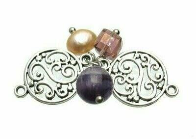 How to make a beaded charm bracelet. Vintage Look Amethyst & Pearl Dangle Bracelet - Step 3