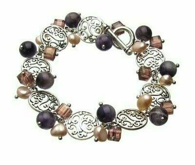 How to make a beaded charm bracelet. Vintage Look Amethyst & Pearl Dangle Bracelet - Step 4