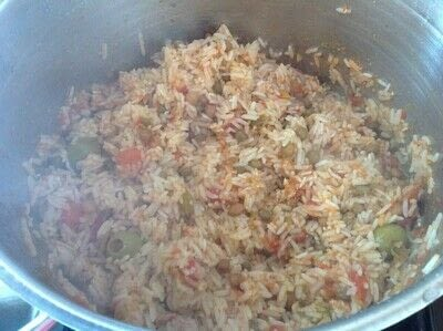 How to cook a pork dish. Puerto Rican Rice & Beans - Step 4