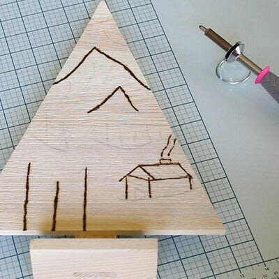How to make a decoration. Pyrography Mountain Landscape On Wood - Step 4
