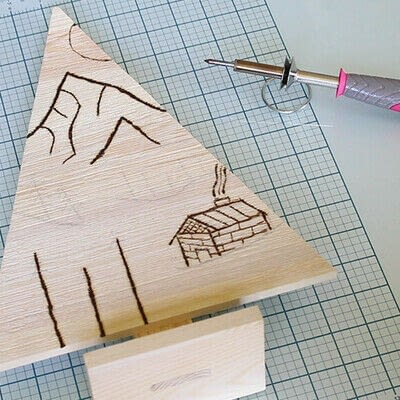 How to make a decoration. Pyrography Mountain Landscape On Wood - Step 5