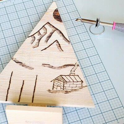 How to make a decoration. Pyrography Mountain Landscape On Wood - Step 6