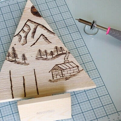 How to make a decoration. Pyrography Mountain Landscape On Wood - Step 7